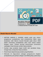 Analisis Produktivitas Model Marvin Mundel Teknik Industri
