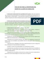 Document amb les propostes de Vox per pactar amb PP i Cs