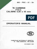 FN Carbine F.N.C Calibre 5.56 x 45 Mm Operator's Manual 1980
