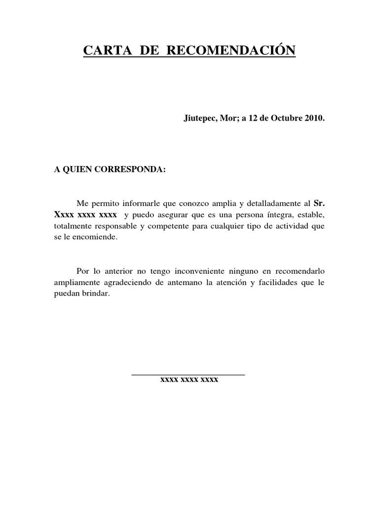 Carta de recomendación personal - Ejemplo de