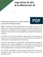 31-12-2018 Astudillo entrega obras de alto impacto social en Buenavista de Cuéllar .