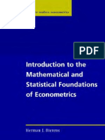 Bierens - Introduction to the Mathematical and Statistical Foundations of Eco No Metrics