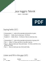 Teknik week 1 bahasa inggris teknik