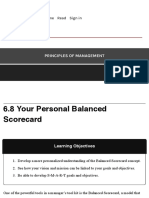 Personal Balanced Scorecard – Principles of Management