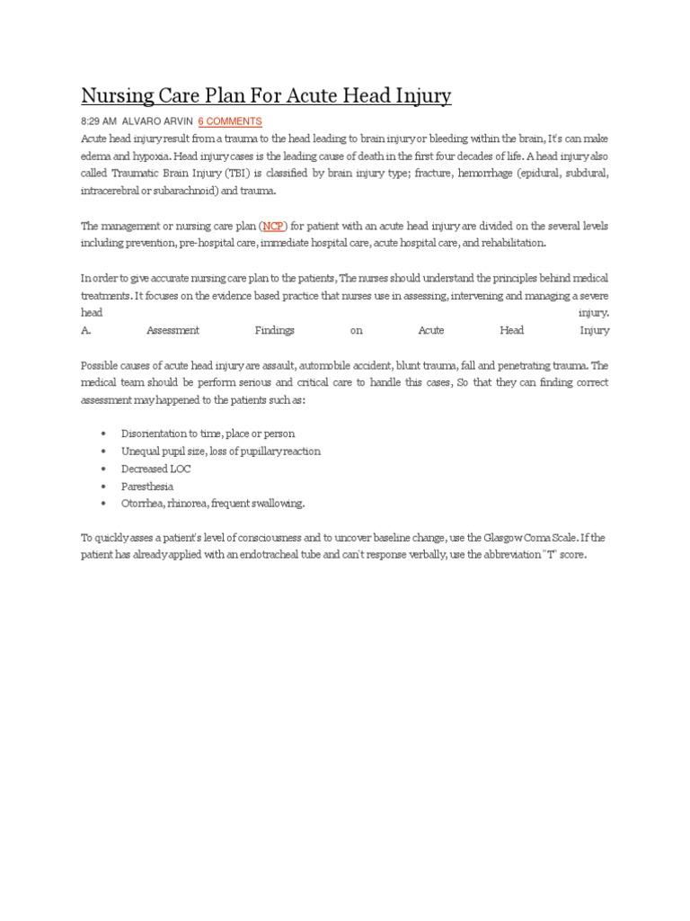 Nursing Care Plan for Acute Head Injury | Traumatic Brain ...