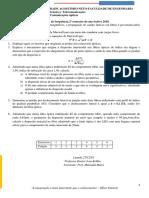Segunda prova parcelar de Comunicação óptica.