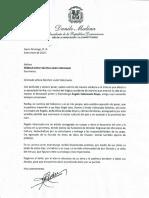Carta de condolencias del presidente Danilo Medina a Mildred Esther Sánchez viuda Valenzuela por fallecimiento de su esposo, el pintor y dramaturgo Ángelo Valenzuela Reyes
