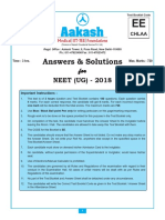 NEET 2018 Aakash Solution Code EE