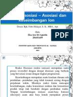 PPT Kimia Analisis (Reaksi Disosiasi – Asosiasi dan Keseimbangan Ion)