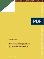 (Fondo Hispánico de Lingüística y Filología) Javier Elvira-Evolución Lingüística y Cambio Sintáctico-Peter Lang (2009)