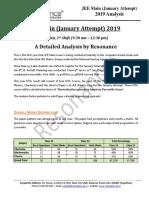 JEE Main 2019 Detailed Analysis January Attempt Shift - 1(09th January, 2019)