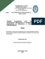 """""""Modelo Propedéutico Para Desarrollar Competencias Matemáticas en Estudiantes de La Especialidad de Matemática y Computación, FACHSE-UNPRG""""."""
