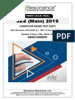 JEE Main 2019 Chemistry January Attempt Shift - 2(09th January, 2019)