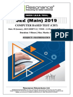 JEE Main 2019 Mathematics January Attempt Shift - 2(09th January, 2019)