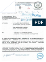 Oficio SITOBUR al Alcalde de Lima sobre Discriminación.