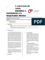 Análisis y Calculos de Rendimientos, Costos Horarios e Inversiones en Maquinaria Minera