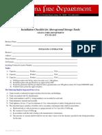 Aboveground Tank Installation Checklist