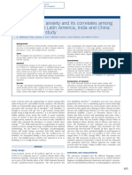 Prevalence of Anxiety and Its Correlates Among Older Adults in Latin America India and China Crosscultural Study