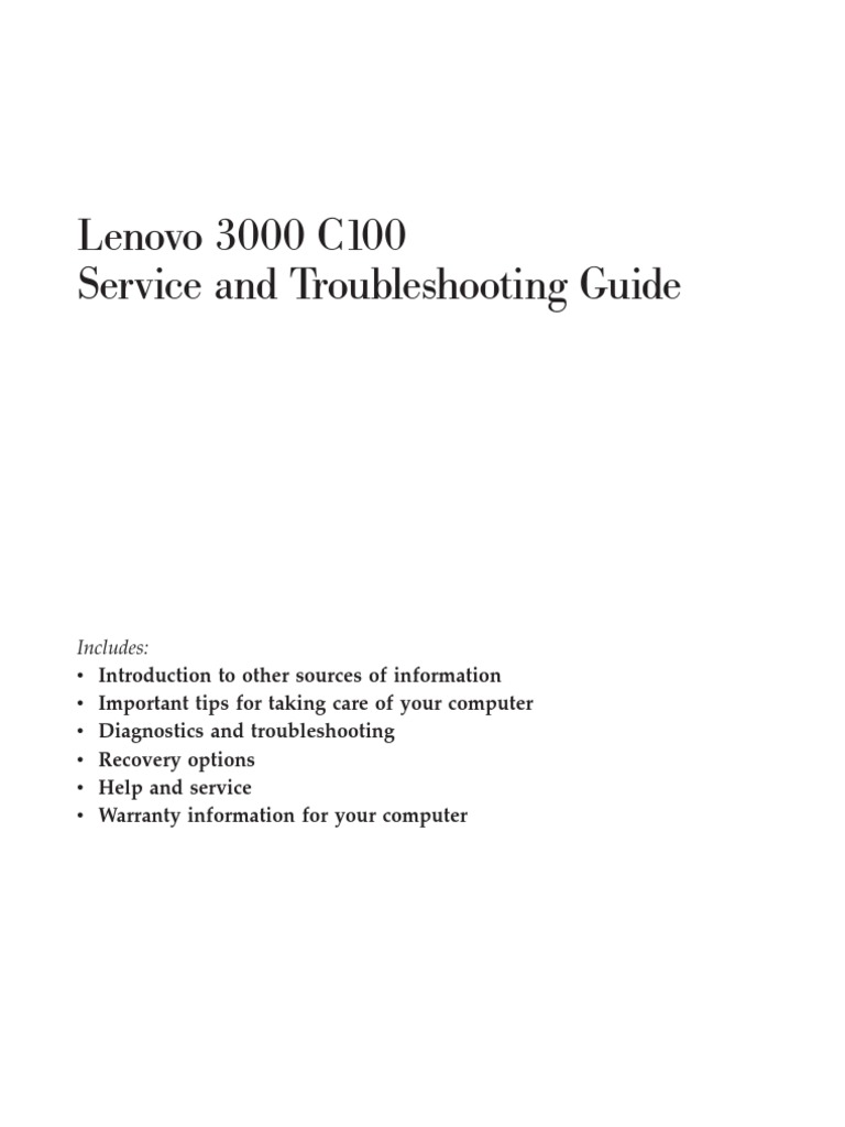 lenovo 3000 model c100 service and troubleshooting guide rh scribd com lenovo mobile troubleshooting guide lenovo t60 troubleshooting guide