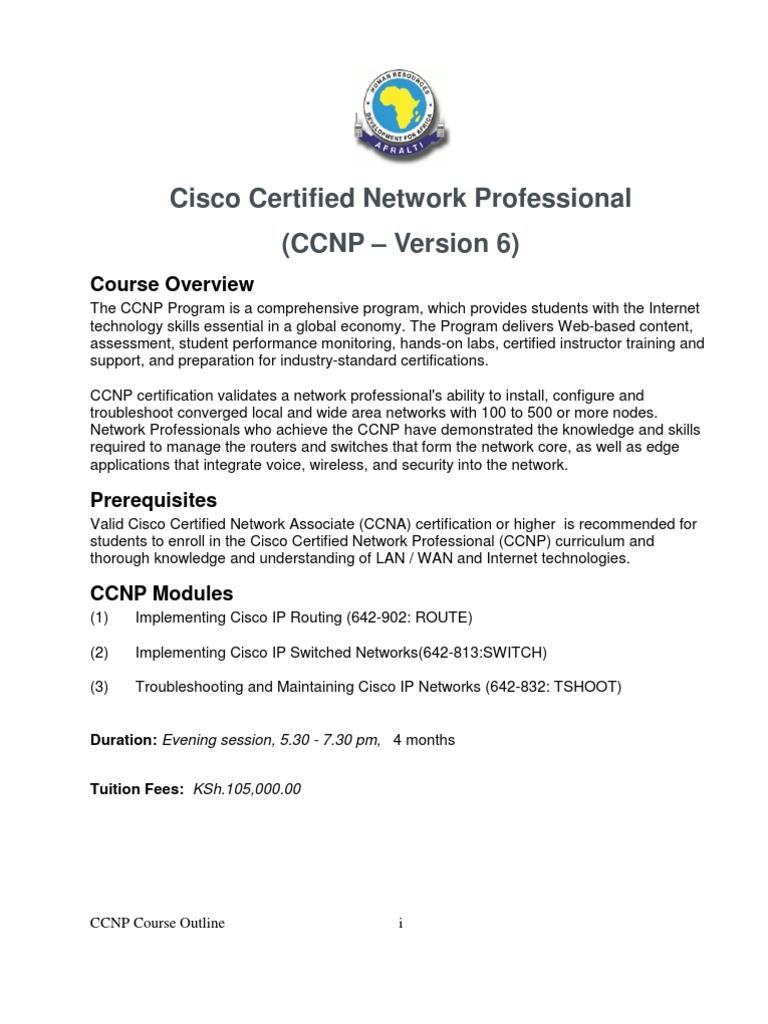 Outline Ccnp Version 6 Cisco Certifications Networking Standards