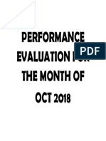 Performance Evaluation for the Month Of
