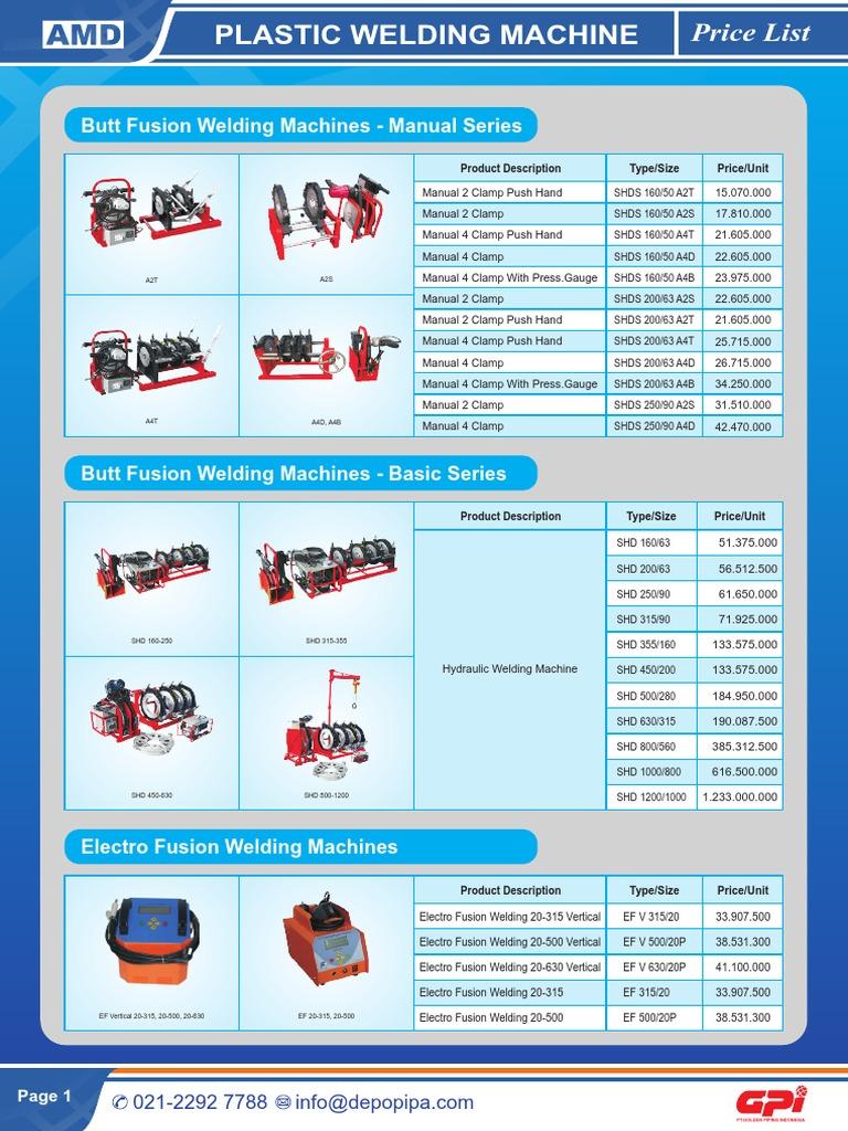 GPI Price List Welding Machine | Welding | Pipe (Fluid
