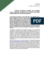 Adoption par l'UE d'une stratégie pour le respect de la Charte Droits Fondamentaux 19 octobre 2010