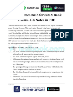 Asian Games 2018 for SSC Bank Exams