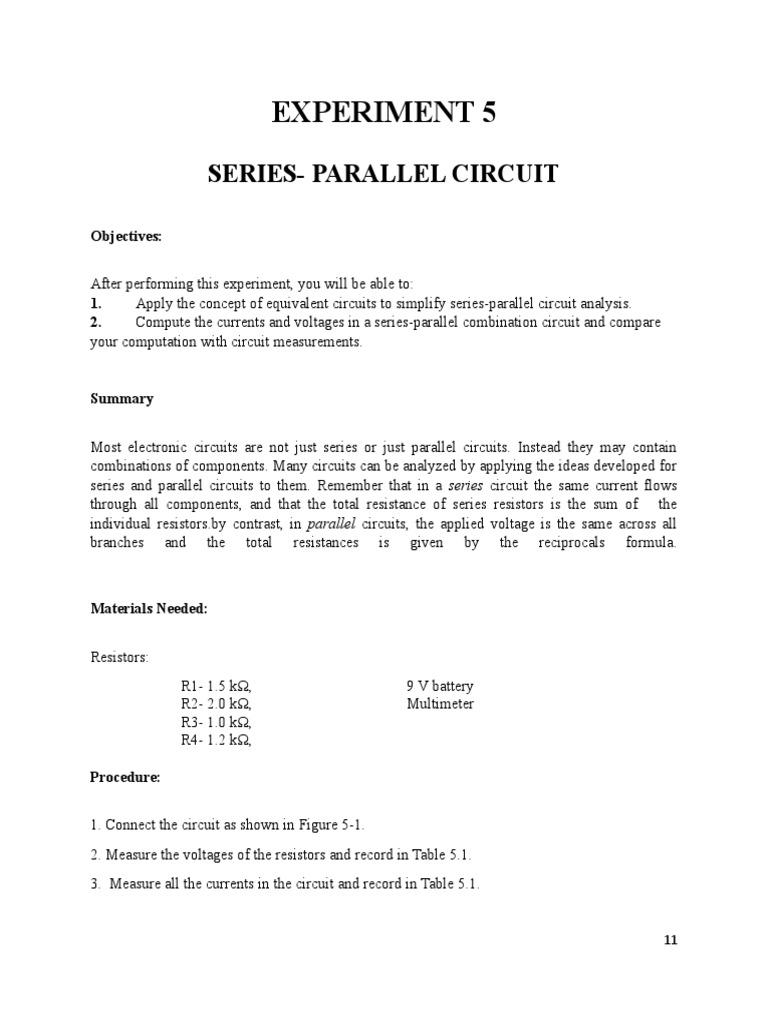 Experiment 5 Series Parallel Circuit