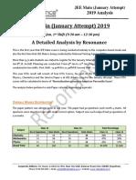 JEE Main 2019 Detailed Analysis January Attempt Shift - 1(10th January, 2019)