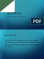 Quiz for POM