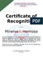 Certification Speaker Ymca