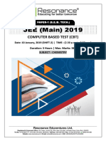 JEE Main 2019 Chemistry Attempt Shift - 2(10th January, 2019)
