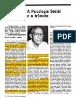ROZESTRATEN 1986 a Psicologia Social e o Trânsito