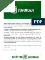 El comunicado por la salida de Jorman Campuzano
