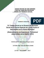 El Trabajo Social en La Fuerza Especial de Lucha Contra El Narcotrafico en El Departamento de Bienestar Social