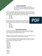 Cutback Asphalt Classifications
