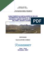 Caracteristicas Metalogenicas Yacimientos Volcanismo Cenozoico Region Cajamarca