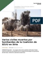 Varios Civiles Muertos Por Bombardeo de La Coalición de EEUU en Siria