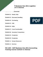 Sap Business One Course Syllabus in Chennai