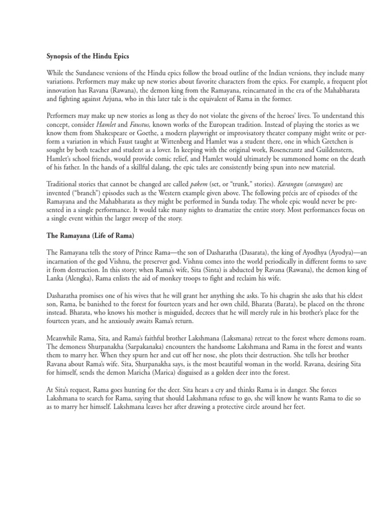 Synopsis of Hindu Epics   Sita   Rama