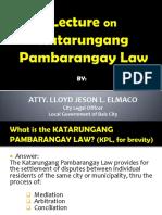Lecture on Katarungan Pambarangay Law.pptx
