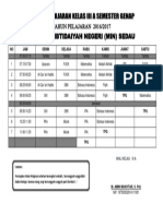 Jadwal -KELAS 3A Semester 2 2017