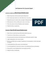 Method Statement for Concrete Repair