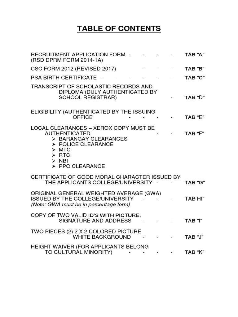 Report Table Of Contents Template