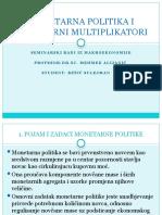 Monetarna Politika i Monetarni Multiplikatori Seminar Ski Rad