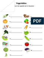 Vegetables Matching Word and Picture