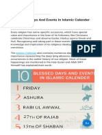 10 Blessed Days and Events in Islamic Calender