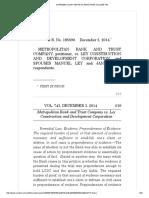 1. Metropolitan Bank v. Ley Construction G.R. No. 185590