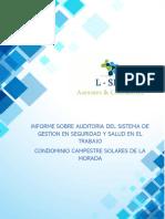 Informe y Propuesta Sobre Evaluacion Del Sistema de Gestion en Seguridad y Salud en El Trabajo La Morada